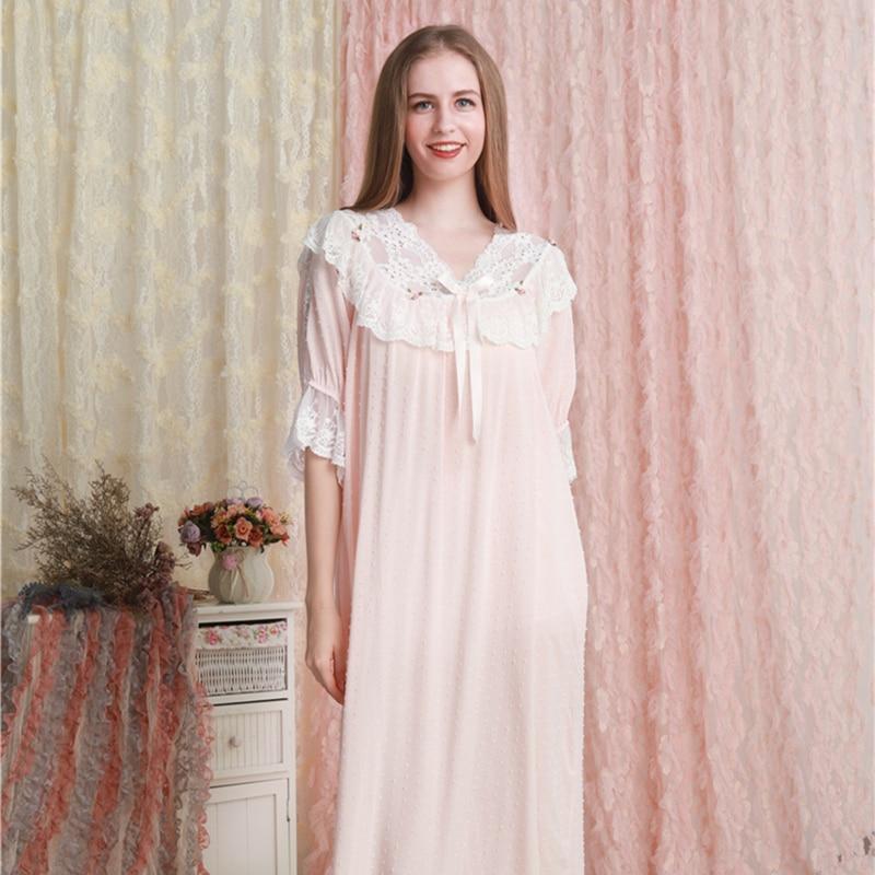 Nightgown Women Dress Princess Sleepshirts Vintage Nightdress Pink Cotton Romantic Nightgowns Nightdress Lounge Sleepwear