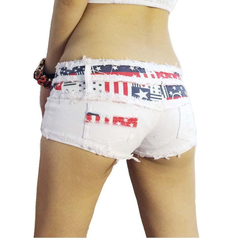 TASTIEN New Sexy Women Shorts Skinny Flag Summer Denim Cotton Jeans Short Low Waist Stretch Mini Super Shorts Clubwear 2 Colors