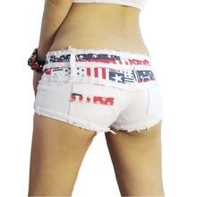 TASTIEN New Sexy Women Shorts Skinny Flag Summer Denim Cotton Jeans Short Low Waist Stretch Mini Super Clubwear 2 Colors