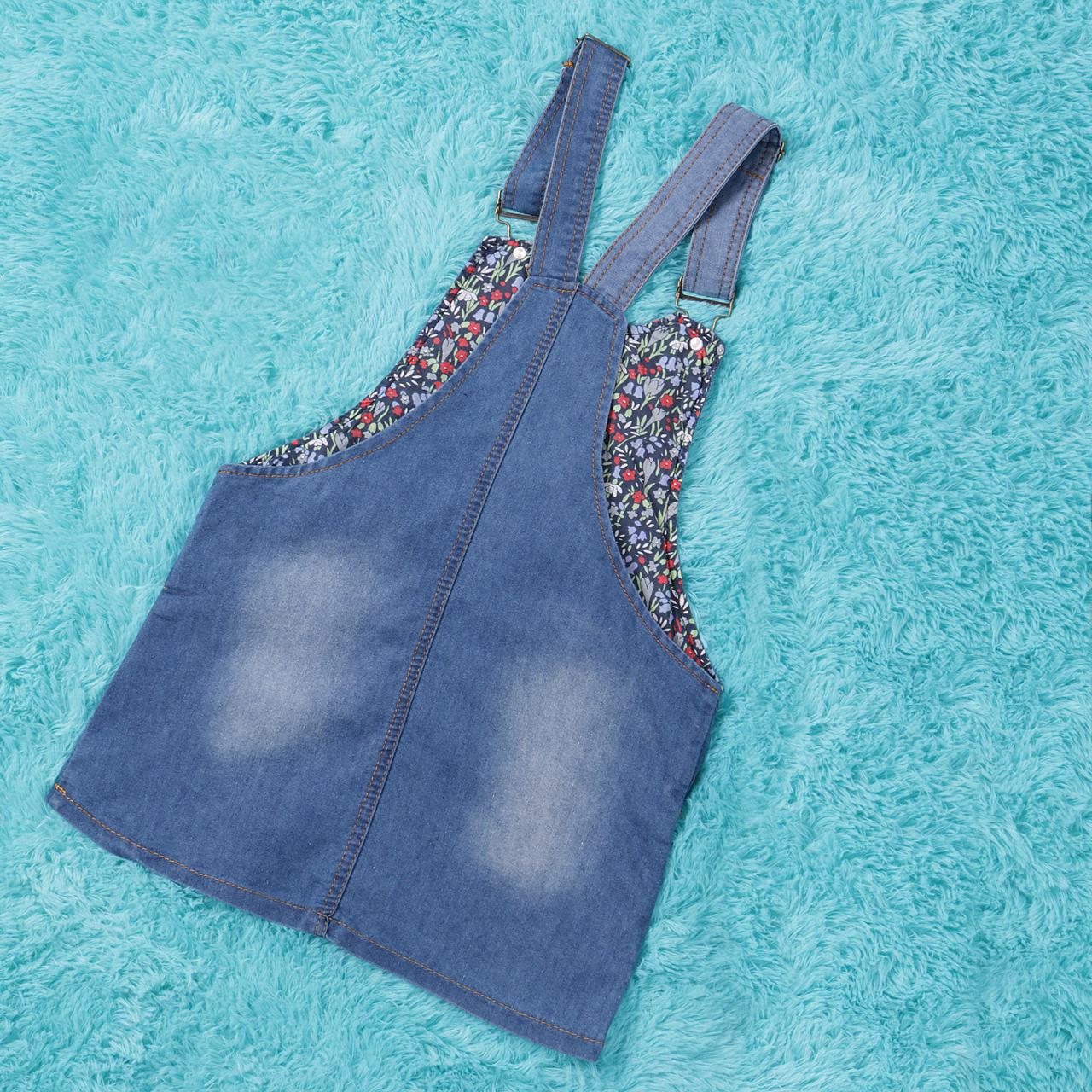 Summer Kids Girls Dress Denim Overalls Dresses Braces Clothes For Age 2-7 Years Kids 3