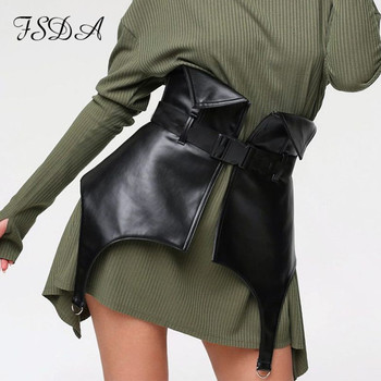 FSDA 2021 Black PU Leather Skirt With Belt Asymmetry Women Mini Sexy High Waist Party Bodycon Pencil Skirts Ladies - Black, S