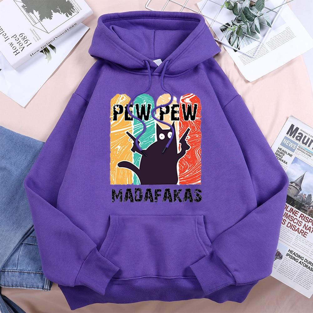 Pew Pew Cool Madafakas Black Cat Women Hoody 2021 Vintage Harajuku Hooded Hip Hop Fashion Streetwear Comfort Fleece Woman Hoodie 7