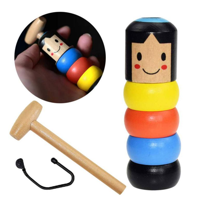 1set Immortal Daruma Unbreakable Wooden Man Magic Toy Stage Magic Props Comedy Mentalism Halloween Fun Toy Gifts