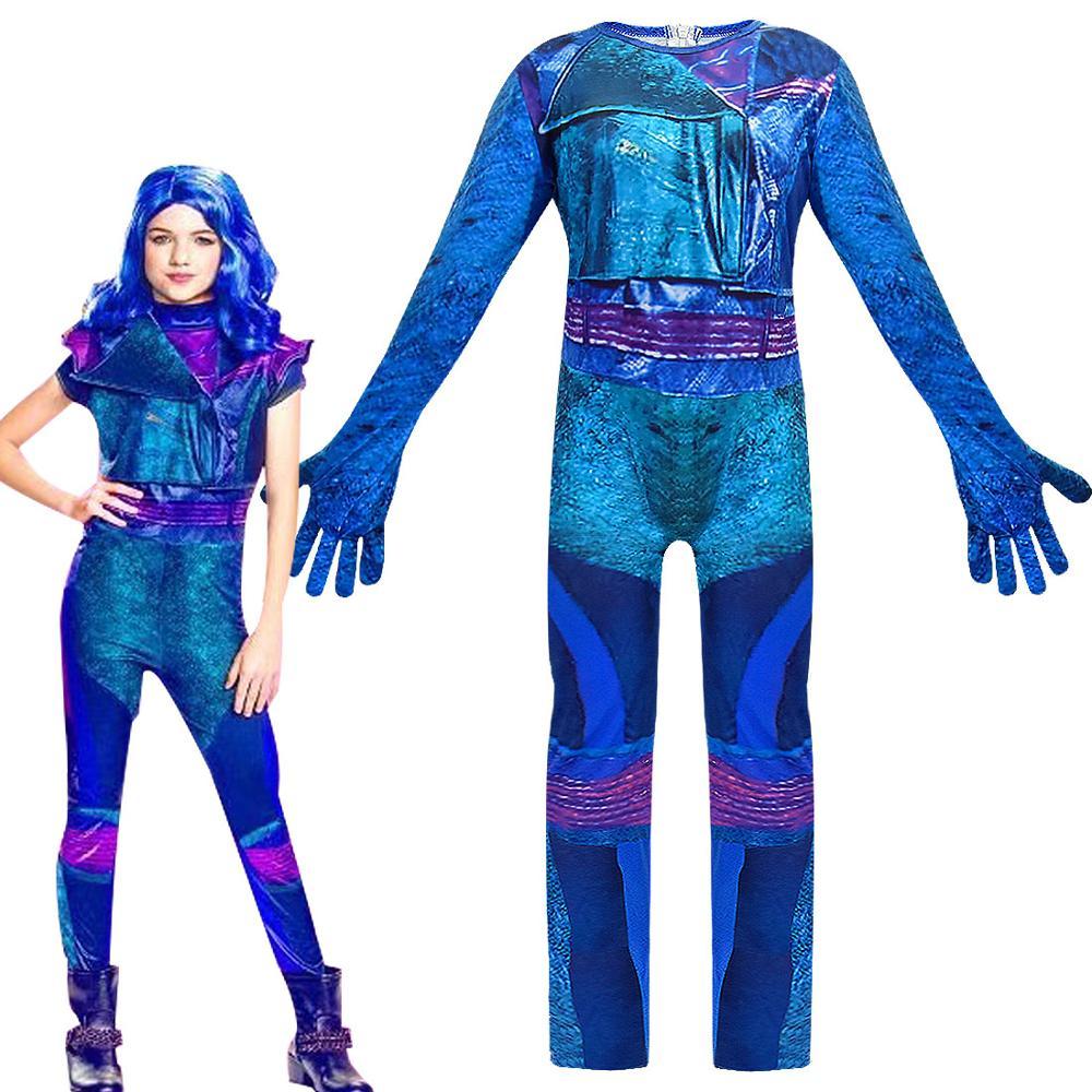 Halloween Descendants 3 Mal Cosplay Women Girls Carnival Costume Jumpsuit