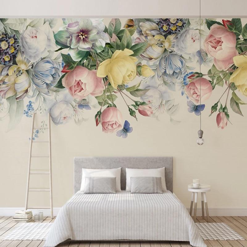 2020 Custom Modern 3D Stereoscopic Wallpaper Floral European Style Embossed Rose Living Room Bedroom TV Background Decor Murals