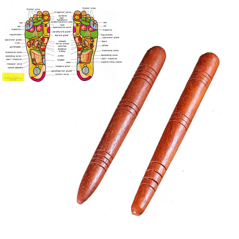 1 Pc New Wooden Foot Spa Physiotherapy Reflexology Thai Foot Massage Health Chart Free Massage Stick Tool Free Ship