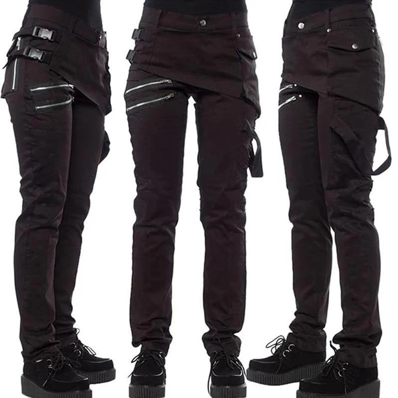 2019 Autumn Winter Women Hip Hop Style Trendy Rivet Pants Zipper With Pockets Solid Color Casual Trousers Cool Punk Rock Pants