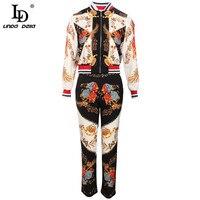 LD LINDA DELLA Designer Autumn High street Fashion Vintage Sets Women's Long sleeve Blouses+Printed Pants 2 Two Piece Suits