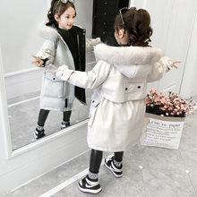 New 5-10 year old girl baby winter coat of the thick coat little girl in the long section of the cotton jacket child down jacket(China)