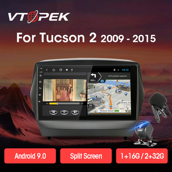 Vtopek 4G+WiFi DSP 2din Android Car Radio Multimedia Video Player Navigation GPS For Hyundai Tucson 2 2009-2015 IX35 Head Unit vtopek 9 4g wifi 2din android 8 1 car radio multimedia player navigation gps for toyota prado 3 j120 2003 2009 head unit 2 din