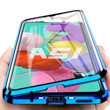 Funda abatible magnética para Samsung A51, carcasa completa de vidrio templado de doble cara de 360 ° para Galaxy A12, A51, A71 A 12, 51