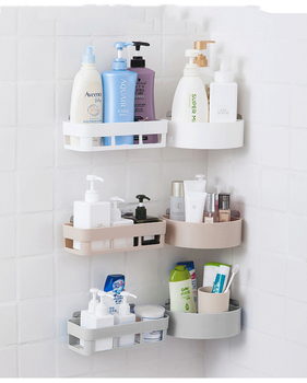 цена на Bathroom Storage Rack Wall Hanging Corner Shower Shelf Kitchen Storage Rack Holder Bath Desk Makeup Organizer Wall Decoration