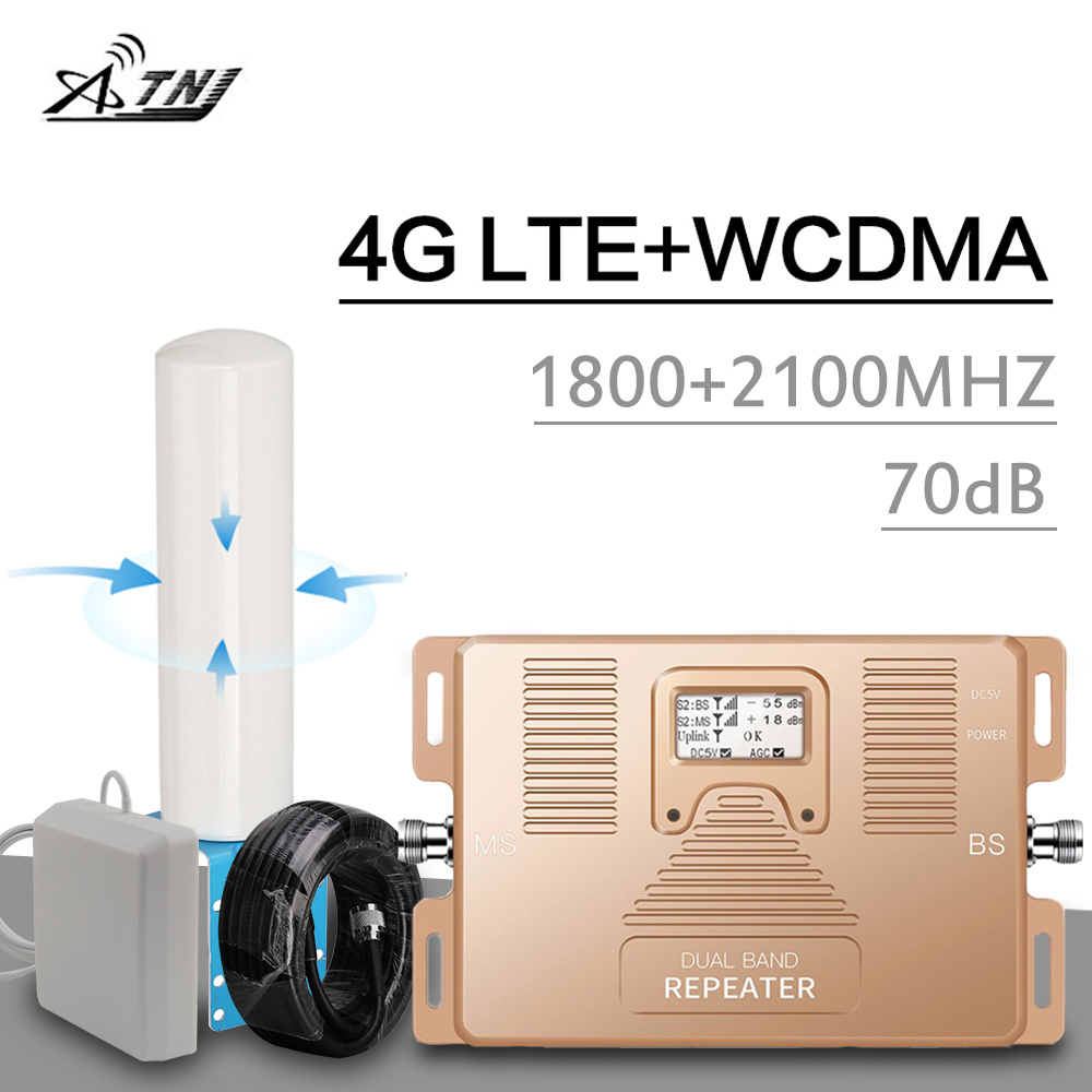 Europe 2g 3g 4g Signal Repeater 1800/2100 Mhz DCS LTE WCDMA Internet Amplifier LCD Display 70 DB Gain Mobile Signal Booster Set