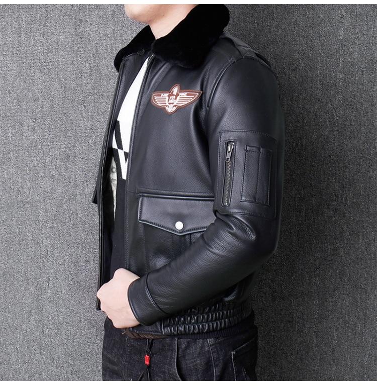 Ha9a28b92d55c4f41a07a84d1458d79f5o 2019 Vintage Men's G1 Air Force Pilot Jackets Genuine Leather Cowhide Jacket Plus Size 5XL Fur Collar Winter Coat for Male