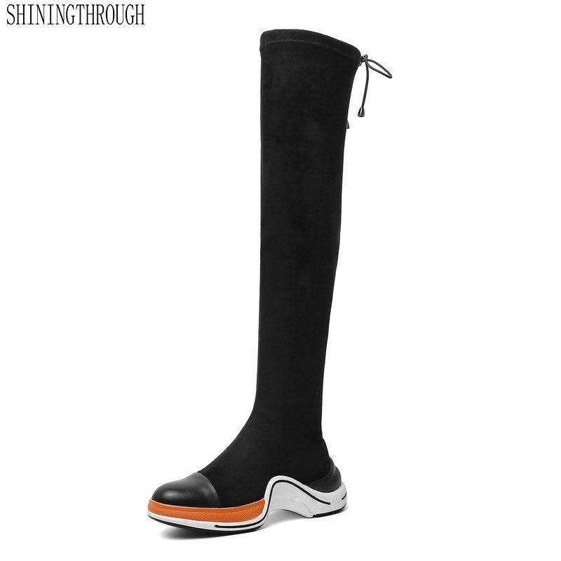 الشرير الأسود جولة اصبع القدم منصات حزب أحذية الزفاف امرأة ضيق عالية طويلة حذاء الثلج عالي الرقبة دافئ الإناث مثير عالية أحذية امرأة-في أحذية فوق الركبة من أحذية على  مجموعة 1