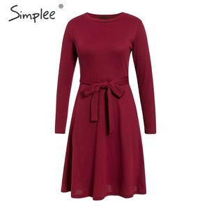 Image 2 - Simplee אלגנטי נשים סרוג סוודר שמלת אונליין שרוול ארוך רצועת חורף שמלת מוצק o צוואר נדן סתיו גבירותיי midi שמלה