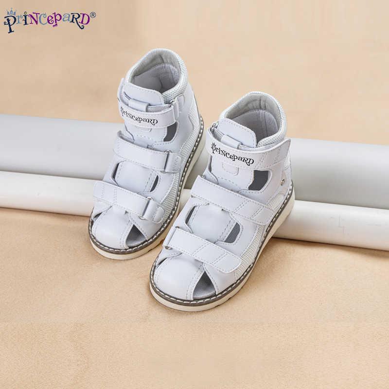 Princepard Baru Musim Panas Anak-anak Sepatu Ortopedi Anak Laki-laki Anak Perempuan Tertutup Tertutup Cap Sandal Kulit Asli Ebropean Ukuran 19-36
