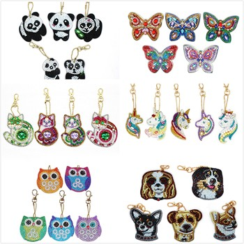 Unicorn Butterfly Design Diy Diamond Keychain Painting Christmas Gift 5pcs Diy Special Full Drill Woman Girl Jewelry Keyring