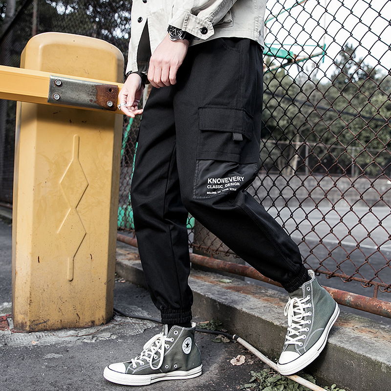 2019 Autumn New Style MEN'S Trousers Korean-style Casual Bib Overall Teenager Popular Brand Pure Cotton Bags Skinny Pants