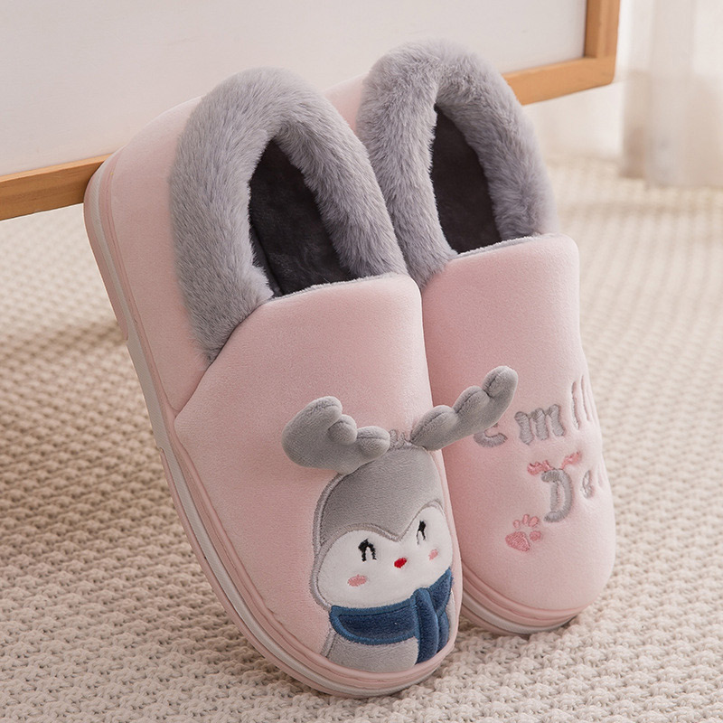 Women Home Slippers Flat Indoor Shoes Female Slip On Cute Cartoon Deer Furry Warm Laides Christmas Woman Shoes Soft Footwear