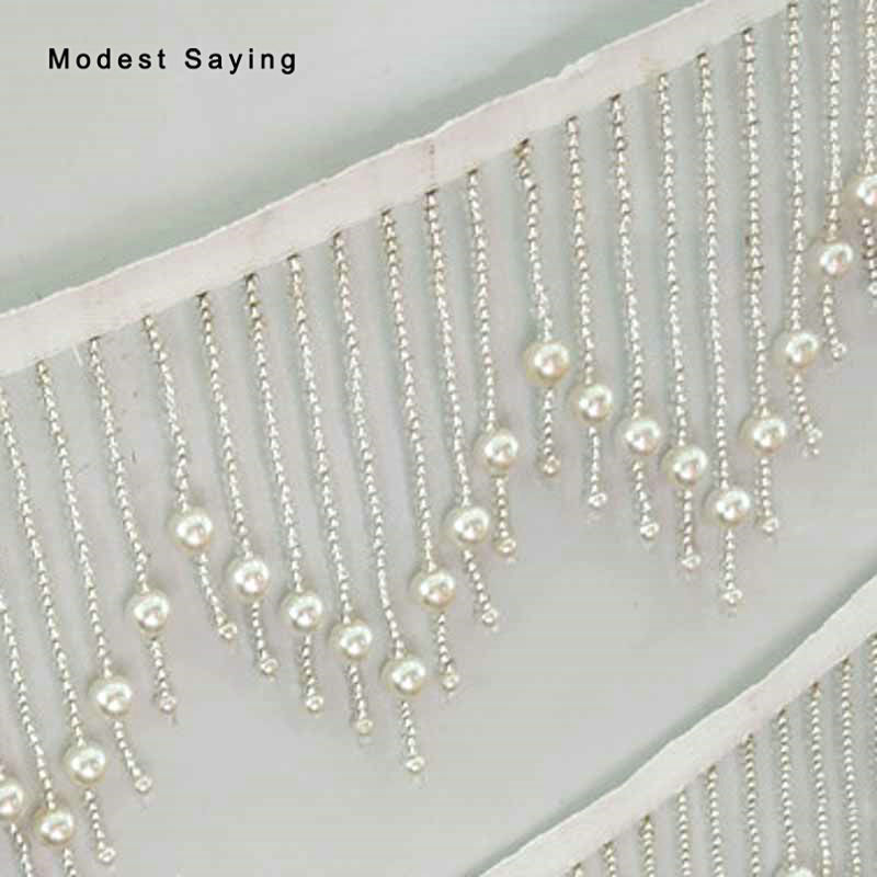 5 Yards Sliver 11cm Beaded Fringe Trim Ribbon Sewing Wave Pearls Tassel Fringe Trimming Latin Dress Evening Garment Accessories