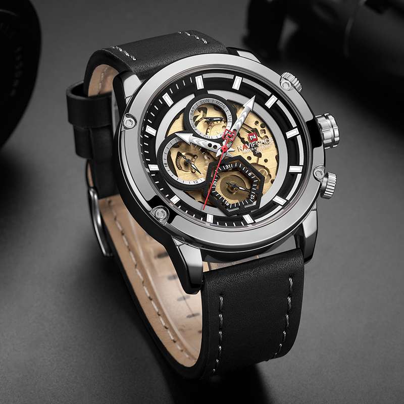 Image 3 - NAVIFORCE Top Brand Men Luxury Watch Full Steel Quartz Male Sport Wrist Watches Military Leather Clock Relogio Masculino 2019-in Quartz Watches from Watches