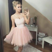 Summer Dresses 2019 New Women Sleeveless High Waist Lace Patchwork Strap Mini Tulle Tutu Dress