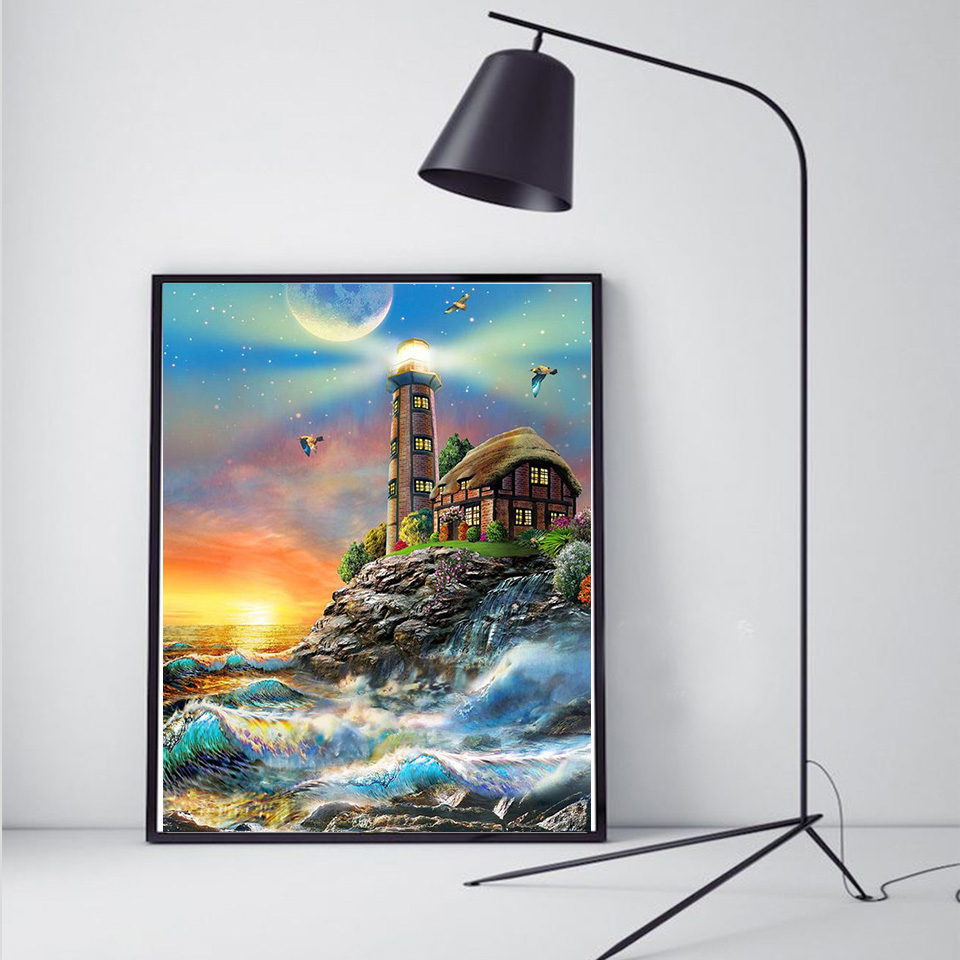 Diamond Embroidery Lighthouse 5D Full Square Diamond Painting Cross Stitch Landscape Rhinestone Pictures Home Décor 3