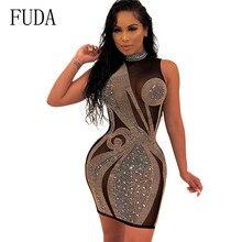 FUDA Summer Diamonds Mesh Patchwork Dresses Women Sexy Sleeveless Hollow Out Rhinestone Party See-through Wrap Mini Dress Mujer