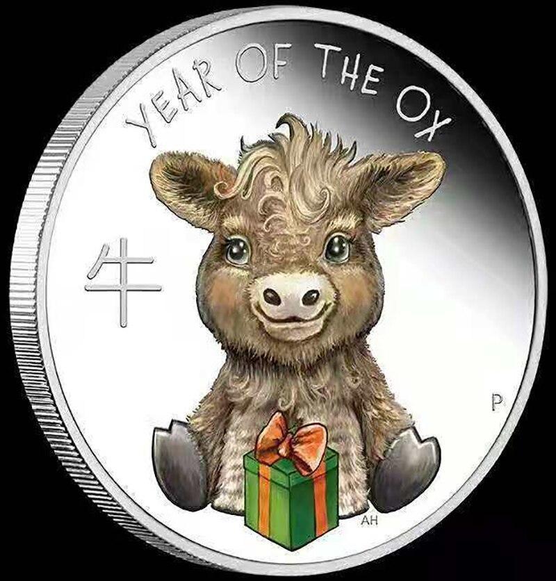 Памятные монеты в честь года быка и Австралии, 1 унция, серебро 2021 пробы, серебро, Элизабет II, сувениры, новогодние подарки, 9999 год