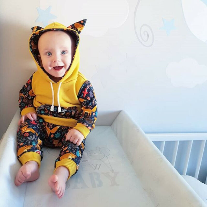 2Pcs Baby Girls Long Sleeve Adorable Fox Striped Hoodie Top and Pants Outfit with Kangaroo Pocket