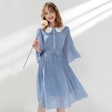 Wasteheart Summer Women Blue Chiffon Dots A-Line Dress Party Holiday Ruffles Lady Sexy Plus Size Plaid Sweet Dresses