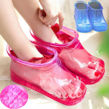 Women Foot Soak Bath Therapy Massage Shoes Relaxation Ankle Boots Acupoint Sole Portable Home Feet Care Hot water Zapatos Mujer цена 2017