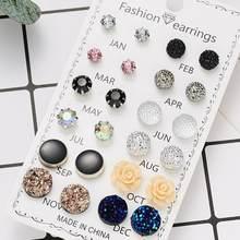 Nova chegada 12 pares/set redondo strass cristal flores combinação cartão brinco conjunto para meninas jóias por atacado