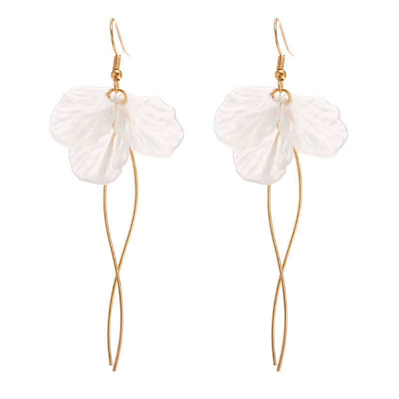 Korean White Petal Acrylic Earrings Long Statement S Shape Metal Rod Tassel Earrings For Women Fashion Jewelry Oorbellen Brincos