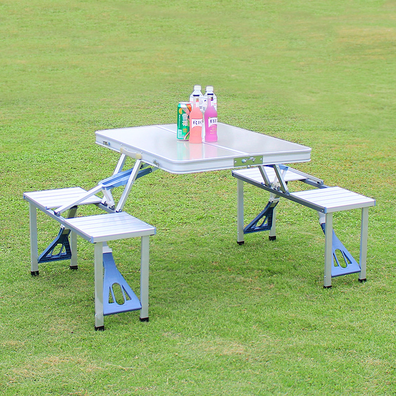 Outdoor Portable Camping Picnic Integrated Folding Table Chair Sets Desk Chairs Set