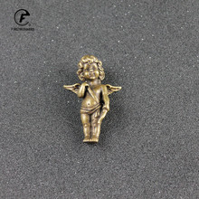 Retro Copper God of Love Cupid Statue Small Ornaments Brass Angel Figurines Desktop Decorations Home Decor Accessories for Room european angel ornaments living room decorations ornaments cute angel for home decoration accessories fairy garden miniatures