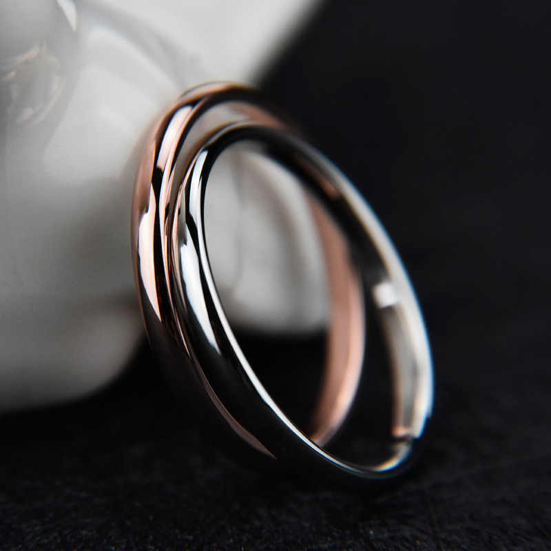 Mossovy Simple Couple Stainless Steel Rose Gold Ring for Female Engagement Silver Black Rings Fashion Jewelry for Women Anillos