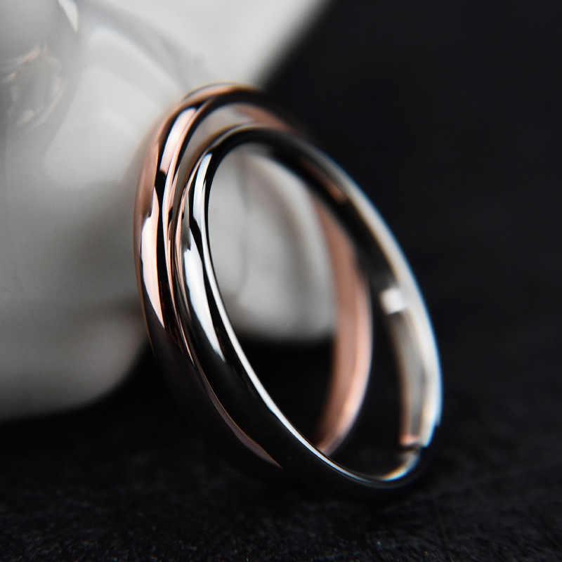 Mossovy بسيطة زوجين زهرة من الستانليس ستيل الذهب خاتم للإناث الخطوبة الفضة الأسود خواتم مجوهرات الأزياء للنساء Anillos