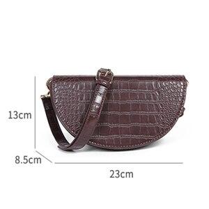 Image 5 - MABULA Mode Krokodil Halbkreis Crossbody Tasche Sattel Taschen Schulter Tasche PU Leder Luxus Handtasche Für Frauen Umhängetasche