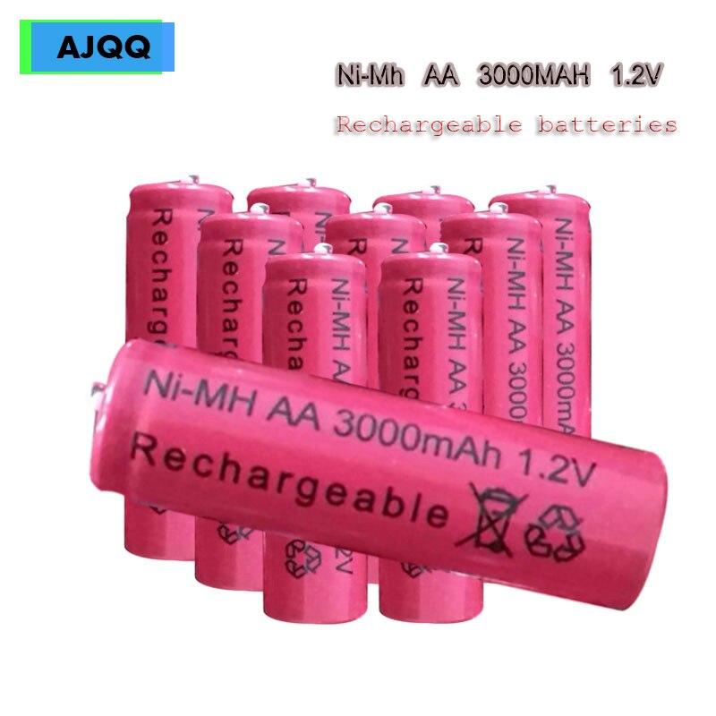 Ventes AJQQ NI-MH AA 1.2v 3000MAH batterie Rechargeable batterie alcaline pour montre caméra batterie jouets MP3/MP4
