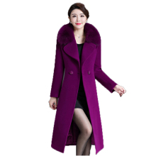 Mom woolen coat women M-5XL plus size long sleeve purple wine red black 019 winter new korean fashion warmth clothing LR354