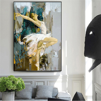 Elegant Dancing Ballerina Abstract Oil Painting Printed on Canvas 1