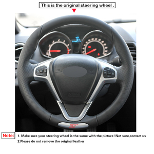 Image 3 - LQTENLEO Black Genuine Leather DIY Hand stitched Car Steering Wheel Cover For Ford Fiesta ST 2013 2014 2015 2016 2017 2018