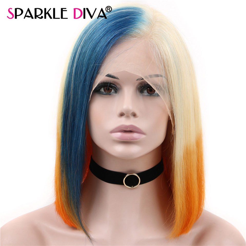 Blue/Orange/613 Blonde Lace Front Wig Ombre Straight Lace Front Wig Bob 13x4 Brazilian Short Human Hair Wigs Pre Plucked Remy image