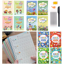 4 Books/Sets 3D of Magic Exercise Book Reusable Children's Calligraphy Practice Write Toys  English Numbers And Letters Copybook
