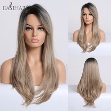 EASIHAIR uzun düz siyah kahverengi Ombre sentetik peruk yan patlama ile peruk kadınlar için doğal saç tutkalsız Cosplay peruk