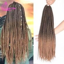 Изысканный 14 18 22 дюймов Crotchet Box косички наращивание волос Омбре коричневый бордовый крючком косички синтетические низкотемпературные волокна