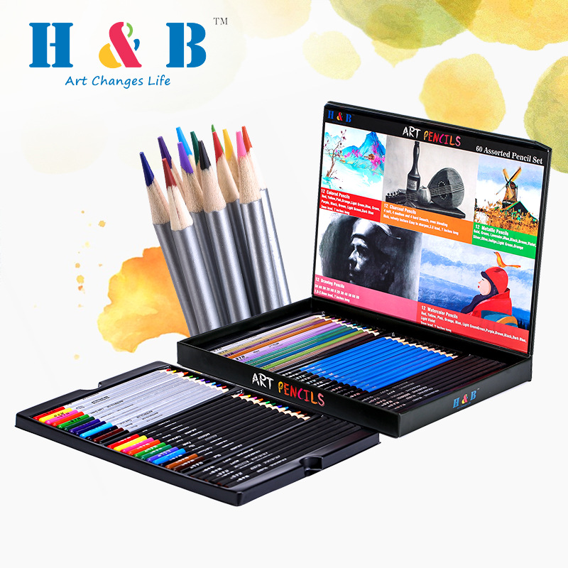 60pcs/bag Student Painting Pencil Color Boxed Sketch Water Soluble Set Professional Art Supplies