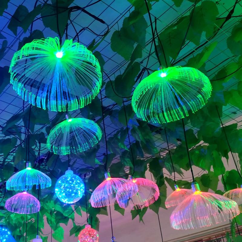 IP66 LED Jellyfish Fiber Optic Colorful Light Hanging Lights Living Room Restaurant Home Decor Wedding Party Waterproof Outdoor
